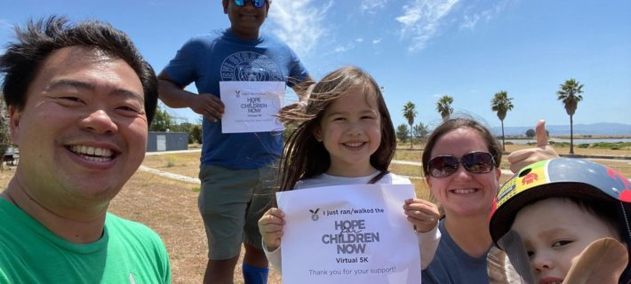 5K participants: Kevin and Becca Hu (and kids!) and Suresh Barre